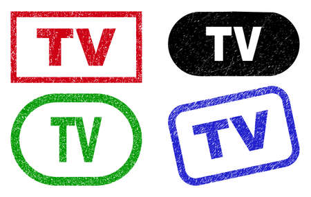 TV grunge watermarks. Flat vector grunge watermarks with TV slogan inside different rectangle and rounded shapes, in blue, red, green, black color variants. Watermarks with scratched style.