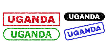 UGANDA grunge stamps. Flat vector distress stamps with UGANDA title inside different rectangle and rounded frames, in blue, red, green, black color versions. Imprints with distress style.