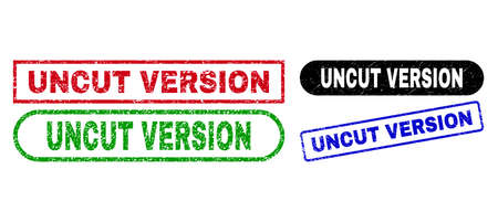 UNCUT VERSION grunge seal stamps. Flat vector grunge watermarks with UNCUT VERSION caption inside different rectangle and rounded forms, in blue, red, green, black color variants.