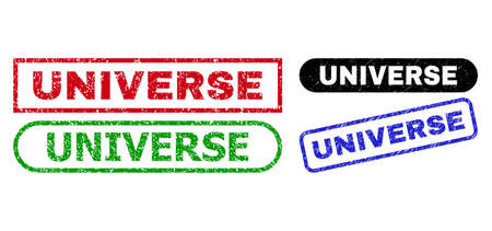 UNIVERSE grunge seal stamps. Flat vector grunge stamps with UNIVERSE caption inside different rectangle and rounded shapes, in blue, red, green, black color versions.