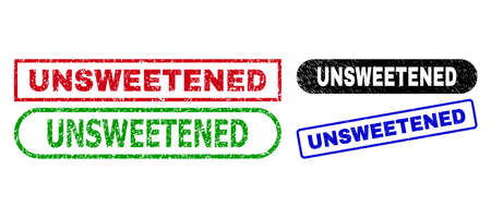 UNSWEETENED grunge seal stamps. Flat vector grunge seal stamps with UNSWEETENED message inside different rectangle and rounded forms, in blue, red, green, black color versions. Ilustração