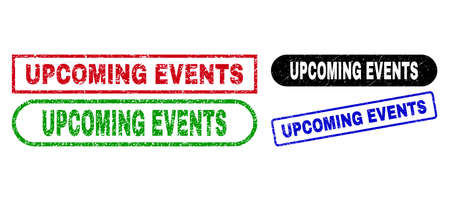 UPCOMING EVENTS grunge seal stamps. Flat vector distress watermarks with UPCOMING EVENTS text inside different rectangle and rounded frames, in blue, red, green, black color versions.
