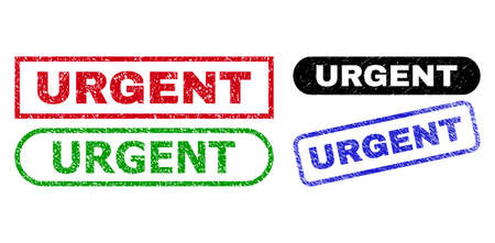 URGENT grunge seals. Flat vector grunge seals with URGENT message inside different rectangle and rounded shapes, in blue, red, green, black color variants. Watermarks with corroded surface. Ilustração