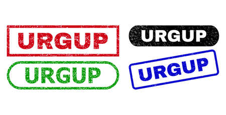 URGUP grunge watermarks. Flat vector textured watermarks with URGUP title inside different rectangle and rounded frames, in blue, red, green, black color versions. Watermarks with grunged style. Ilustração
