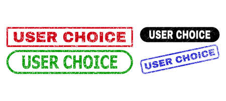 USER CHOICE grunge seal stamps. Flat vector grunge stamps with USER CHOICE tag inside different rectangle and rounded forms, in blue, red, green, black color versions.