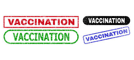 VACCINATION grunge seal stamps. Flat vector grunge seal stamps with VACCINATION text inside different rectangle and rounded frames, in blue, red, green, black color versions.