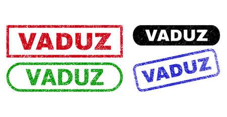 VADUZ grunge seals. Flat vector grunge seals with VADUZ tag inside different rectangle and rounded shapes, in blue, red, green, black color versions. Rubber imitations with unclean style.
