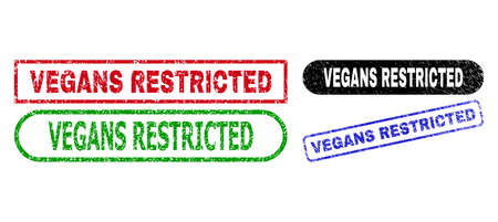 VEGANS RESTRICTED grunge seals. Flat vector grunge seals with VEGANS RESTRICTED slogan inside different rectangle and rounded forms, in blue, red, green, black color variants.