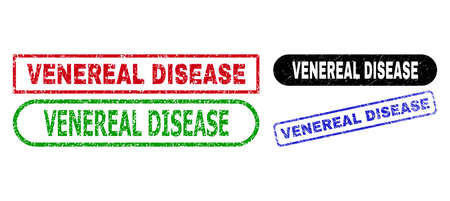 VENEREAL DISEASE grunge watermarks. Flat vector grunge watermarks with VENEREAL DISEASE caption inside different rectangle and rounded frames, in blue, red, green, black color versions.