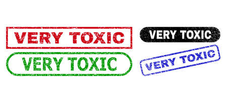 VERY TOXIC grunge seal stamps. Flat vector grunge seal stamps with VERY TOXIC tag inside different rectangle and rounded forms, in blue, red, green, black color versions.