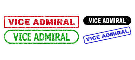 VICE ADMIRAL grunge stamps. Flat vector textured seal stamps with VICE ADMIRAL text inside different rectangle and rounded forms, in blue, red, green, black color variants.