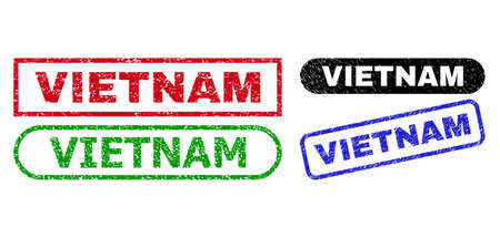 VIETNAM grunge seals. Flat vector grunge seals with VIETNAM tag inside different rectangle and rounded frames, in blue, red, green, black color variants. Rubber imitations with grunge style.