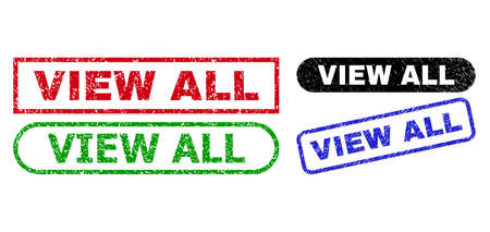 VIEW ALL grunge seal stamps. Flat vector grunge stamps with VIEW ALL caption inside different rectangle and rounded forms, in blue, red, green, black color versions. Watermarks with corroded style.