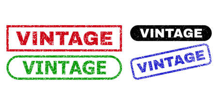 VINTAGE grunge seal stamps. Flat vector grunge stamps with VINTAGE title inside different rectangle and rounded shapes, in blue, red, green, black color versions. Rubber imitations with grunge style. Ilustração