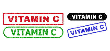 VITAMIN C grunge seal stamps. Flat vector grunge stamps with VITAMIN C phrase inside different rectangle and rounded shapes, in blue, red, green, black color versions. Imprints with corroded style. Ilustração