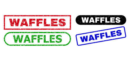 WAFFLES grunge seal stamps. Flat vector scratched seal stamps with WAFFLES caption inside different rectangle and rounded frames, in blue, red, green, black color versions. Ilustração