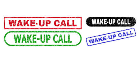 WAKE-UP CALL grunge seal stamps. Flat vector scratched seal stamps with WAKE-UP CALL slogan inside different rectangle and rounded frames, in blue, red, green, black color variants. Ilustração