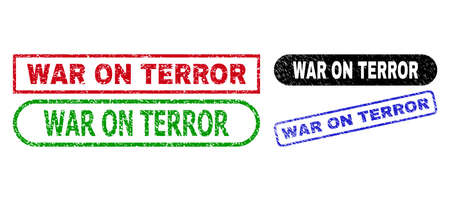 WAR ON TERROR grunge seal stamps. Flat vector scratched seal stamps with WAR ON TERROR tag inside different rectangle and rounded forms, in blue, red, green, black color variants.