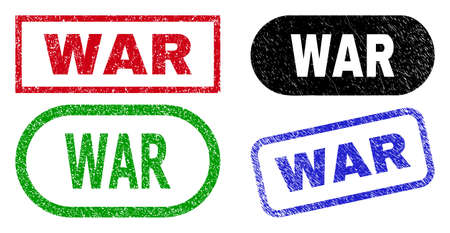 WAR grunge seal stamps. Flat vector scratched seal stamps with WAR slogan inside different rectangle and rounded forms, in blue, red, green, black color versions. Imprints with unclean texture. Ilustração