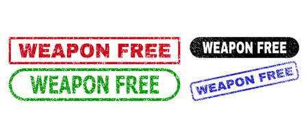 WEAPON FREE grunge stamps. Flat vector grunge seal stamps with WEAPON FREE text inside different rectangle and rounded frames, in blue, red, green, black color versions. Watermarks with grunge style.