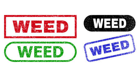 WEED grunge seal stamps. Flat vector scratched stamps with WEED tag inside different rectangle and rounded forms, in blue, red, green, black color versions. Imprints with grunge style.