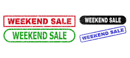 WEEKEND SALE grunge stamps. Flat vector textured stamps with WEEKEND SALE title inside different rectangle and rounded forms, in blue, red, green, black color versions. Watermarks with grunge surface. Ilustração