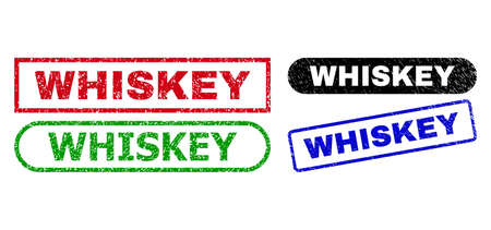 WHISKEY grunge seal stamps. Flat vector grunge stamps with WHISKEY title inside different rectangle and rounded frames, in blue, red, green, black color variants.