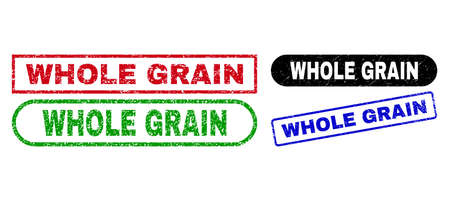 WHOLE GRAIN grunge watermarks. Flat vector scratched watermarks with WHOLE GRAIN message inside different rectangle and rounded forms, in blue, red, green, black color versions.