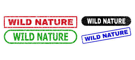WILD NATURE grunge stamps. Flat vector grunge seal stamps with WILD NATURE text inside different rectangle and rounded frames, in blue, red, green, black color variants. Ilustração