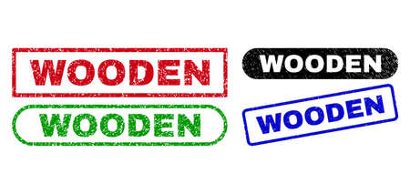 WOODEN grunge seals. Flat vector scratched seals with WOODEN caption inside different rectangle and rounded forms, in blue, red, green, black color variants. Rubber imitations with grunge texture.