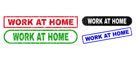 WORK AT HOME grunge watermarks. Flat vector textured seals with WORK AT HOME text inside different rectangle and rounded shapes, in blue, red, green, black color versions.