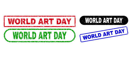 WORLD ART DAY grunge watermarks. Flat vector grunge watermarks with WORLD ART DAY text inside different rectangle and rounded frames, in blue, red, green, black color variants.