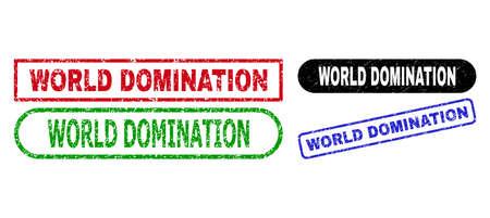 WORLD DOMINATION grunge seal stamps. Flat vector textured stamps with WORLD DOMINATION caption inside different rectangle and rounded shapes, in blue, red, green, black color variants. Ilustração