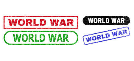 WORLD WAR grunge seal stamps. Flat vector grunge seal stamps with WORLD WAR phrase inside different rectangle and rounded forms, in blue, red, green, black color variants.