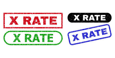 X RATE grunge stamps. Flat vector scratched stamps with X RATE caption inside different rectangle and rounded shapes, in blue, red, green, black color versions. Rubber imitations with scratched style. Ilustração