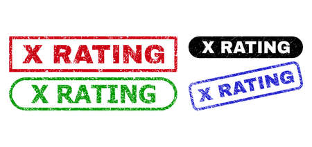 X RATING grunge seal stamps. Flat vector textured seal stamps with X RATING phrase inside different rectangle and rounded frames, in blue, red, green, black color variants.