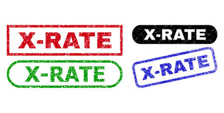 X-RATE grunge watermarks. Flat vector grunge watermarks with X-RATE caption inside different rectangle and rounded frames, in blue, red, green, black color variants. Watermarks with unclean texture.