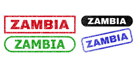 ZAMBIA grunge seal stamps. Flat vector grunge watermarks with ZAMBIA caption inside different rectangle and rounded frames, in blue, red, green, black color versions. Watermarks with grunge texture.
