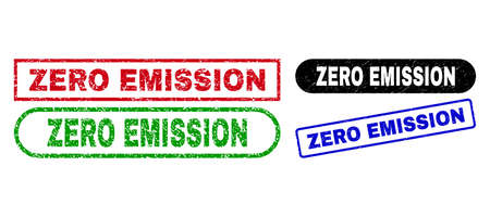 ZERO EMISSION grunge seals. Flat vector grunge watermarks with ZERO EMISSION message inside different rectangle and rounded forms, in blue, red, green, black color variants.
