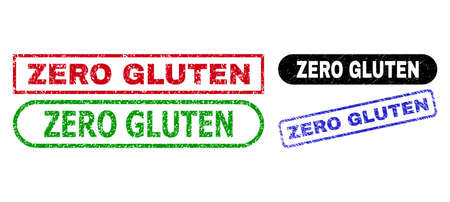 ZERO GLUTEN grunge watermarks. Flat vector grunge seal stamps with ZERO GLUTEN caption inside different rectangle and rounded forms, in blue, red, green, black color versions.