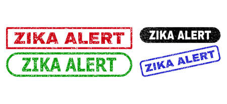 ZIKA ALERT grunge seal stamps. Flat vector textured seal stamps with ZIKA ALERT message inside different rectangle and rounded shapes, in blue, red, green, black color versions. Ilustração
