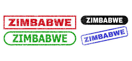 ZIMBABWE grunge stamps. Flat vector grunge stamps with ZIMBABWE message inside different rectangle and rounded forms, in blue, red, green, black color versions. Rubber imitations with distress style.