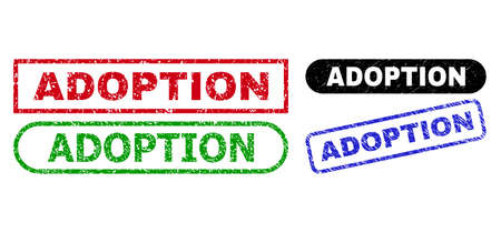 ADOPTION grunge watermarks. Flat vector scratched watermarks with ADOPTION message inside different rectangle and rounded frames, in blue, red, green, black color variants. Imprints with grunge style.