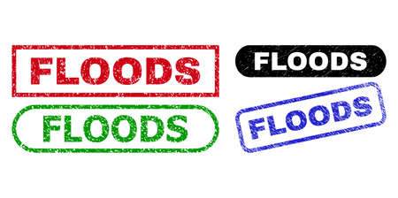 FLOODS grunge stamps. Flat vector grunge seal stamps with FLOODS message inside different rectangle and rounded shapes, in blue, red, green, black color versions. Rubber imitations with grunge style.
