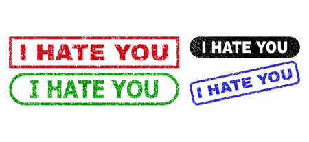 I HATE YOU grunge seal stamps. Flat vector grunge stamps with I HATE YOU message inside different rectangle and rounded shapes, in blue, red, green, black color versions.
