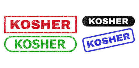 KOSHER grunge seals. Flat vector grunge seals with KOSHER phrase inside different rectangle and rounded forms, in blue, red, green, black color versions. Imprints with unclean surface.