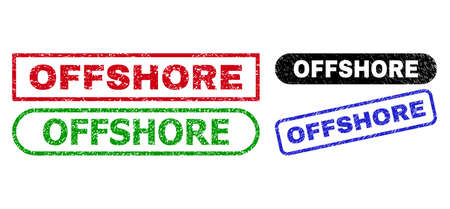 OFFSHORE grunge watermarks. Flat vector grunge seal stamps with OFFSHORE tag inside different rectangle and rounded forms, in blue, red, green, black color variants. Watermarks with scratched surface.