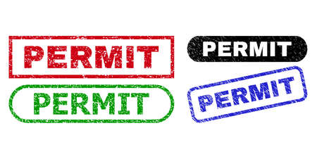 PERMIT grunge seals. Flat vector grunge stamps with PERMIT tag inside different rectangle and rounded frames, in blue, red, green, black color versions. Watermarks with corroded texture. Illusztráció