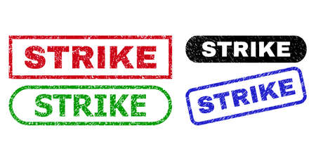 STRIKE grunge seal stamps. Flat vector distress stamps with STRIKE title inside different rectangle and rounded frames, in blue, red, green, black color variants. Watermarks with corroded surface.