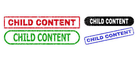 CHILD CONTENT grunge seal stamps. Flat vector grunge seal stamps with CHILD CONTENT phrase inside different rectangle and rounded forms, in blue, red, green, black color variants.